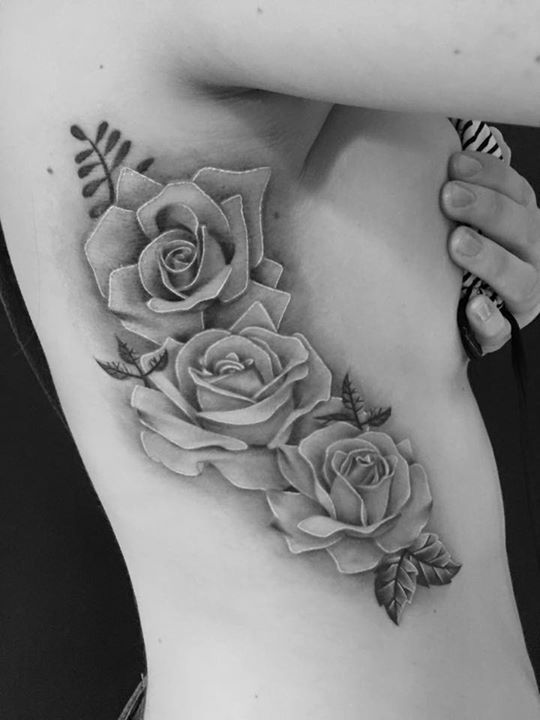 flower tattoos for women black and grey - Google Search