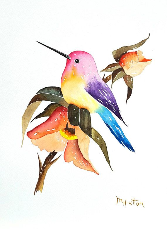 Original Watercolor Painting Birds Colorful Hummingbird With