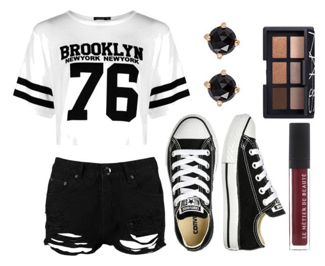 """""""Hang Out"""" by diyloving on Polyvore featuring Boohoo, Converse, Irene Neuwirth and NARS Cosmetics"""