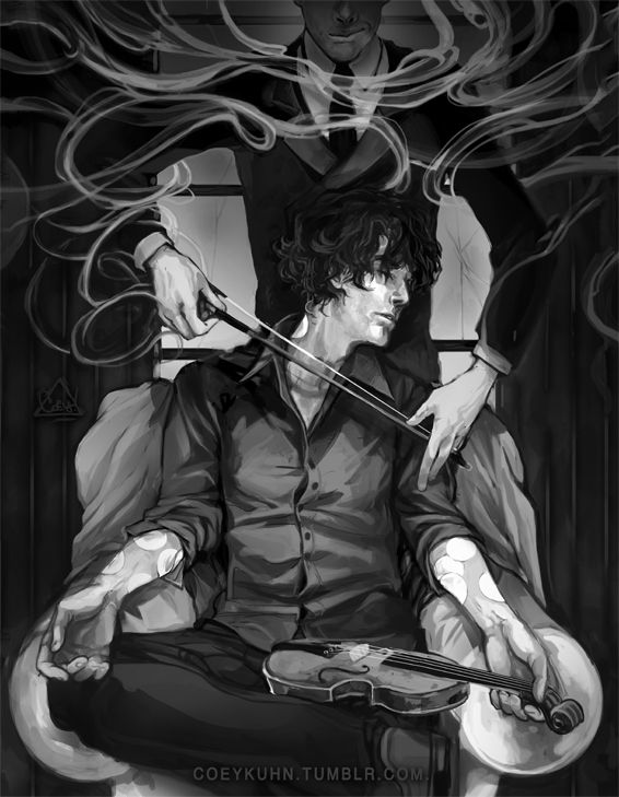 coeykuhn:  more sherlock fanart? Yes. *HASAPROBLEM-NOIWONTGETHELP*Moriarty n Sherli :U Original sketch had john there (behind him) instead but it just wasnt working out. stupid jawn.  -COEY!  ps. Moriarty- what's w/ that smoke? u a wizard? quit that.  —  UPDATE: omg all your comments are so funny. I love you guys XD  ——