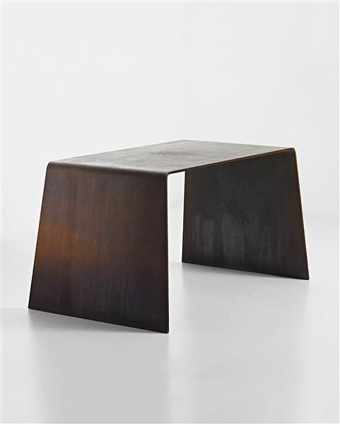 SCOTT BURTON  Prototype 'Steel Furniture' table, circa 1978  Rusted hot-rolled steel.  Prototype for a subsequent edition of six and one artist's proof.  29 1/8 x 55 3/8 x 33 1/4 in (74 x 140.6 x 84.5 cm)