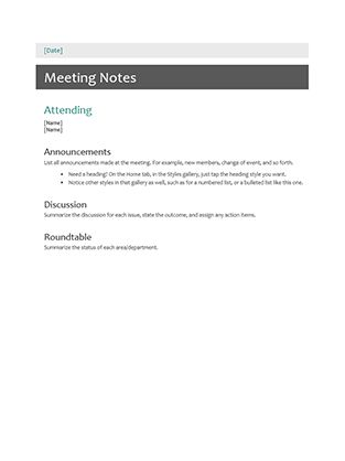 meeting notes examples