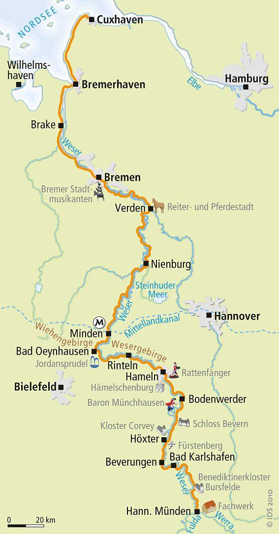 Weser-Radweg Karte   – boy