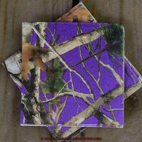 Match our purple camo lunch napkins and plates with your school colors or favorite sports team!