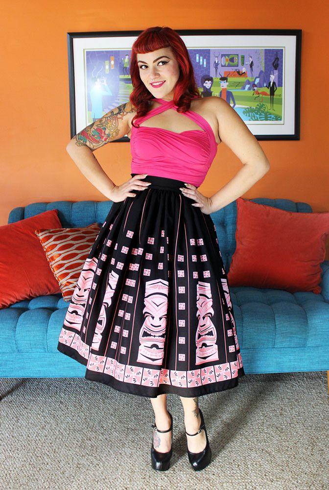 Coming Soon -Pink Sneaky Tiki Novelty Print Circle Skirt