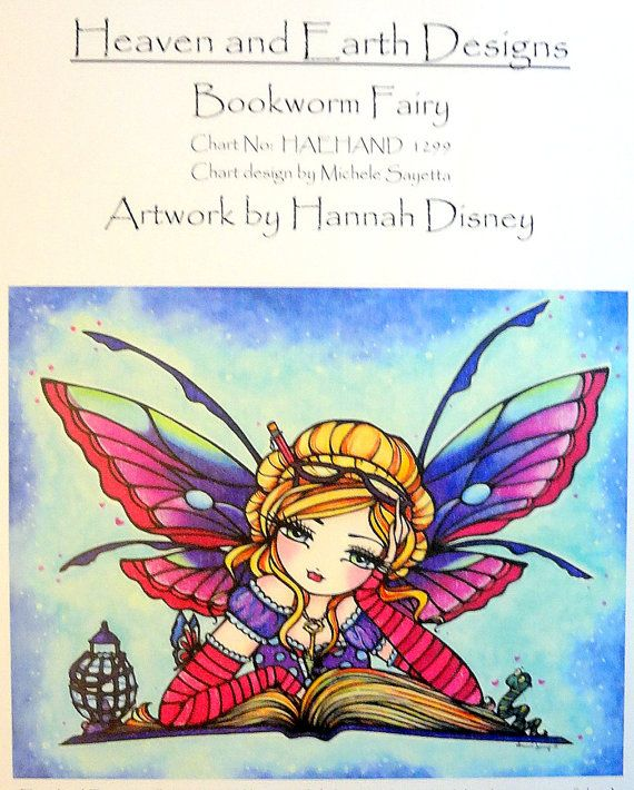 SALE! Bookworm Fairy Cross Stitch Pattern by Heaven and Earth Designs (HAED)