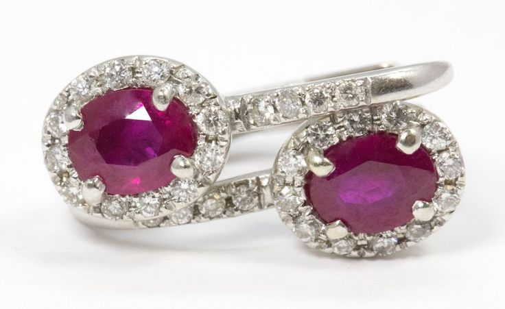 Ruby and Diamond Halo Leverback Earrings 14k White Gold #Handmade #DropDangle
