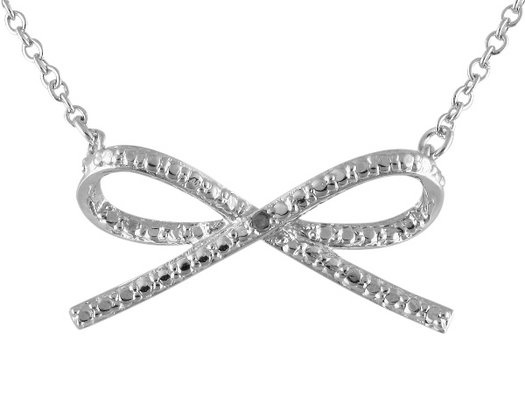 Bow Pendant with Diamond Accent in Sterling Silver with Chain