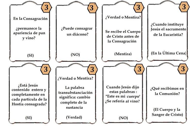 Juego los siete sacramentos.preguntas eucaristia 1 La samaritana, juegos de nueva evangelizacion