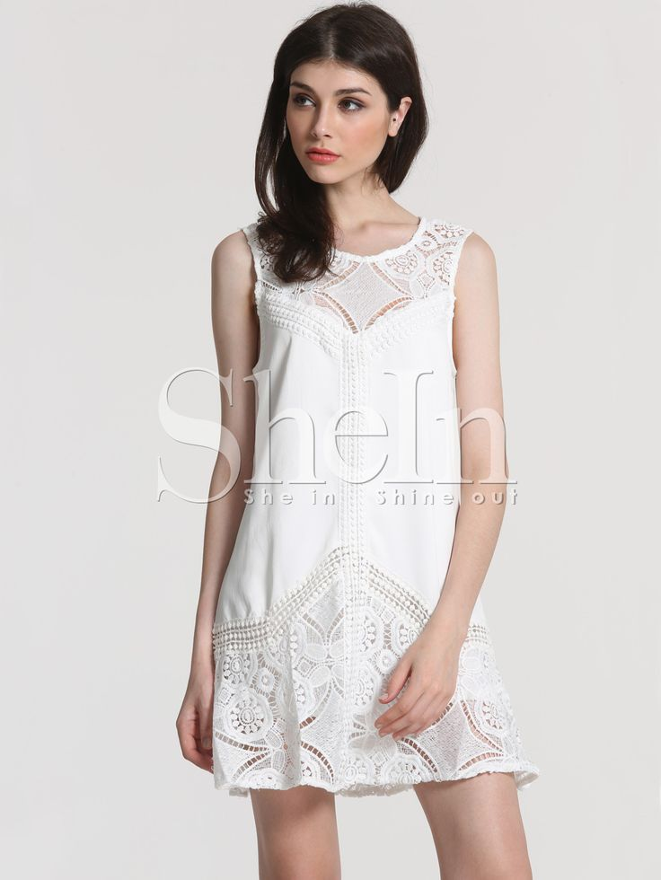 White Sleeveless Lace Ruffle Dress -SheIn(Sheinside)