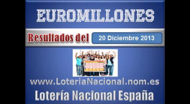 Euromillones sorteo dia Viernes 20 de Diciembre 2013. Fuente: www.loterianacional.nom.es