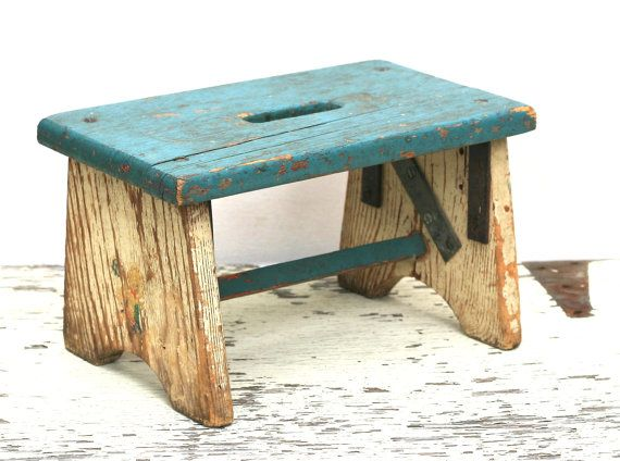 Vintage Childs Wooden Stool Rustic Chippy Distressed by ivorybird