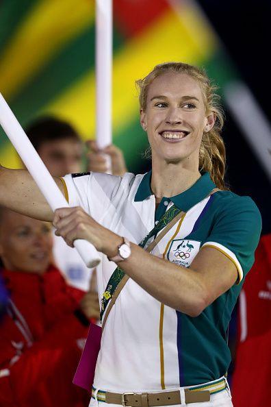 Flag bearer Kim Brennan of Australia walks during the 'Heroes of the Games'…