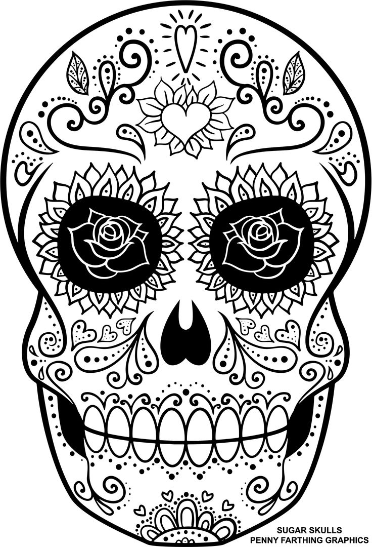 """Skull from """"Sugar Skulls - Day of the Dead"""" - Another Awesome pin repinned by http://detailedcoloringbooks.blogspot.co.uk/"""