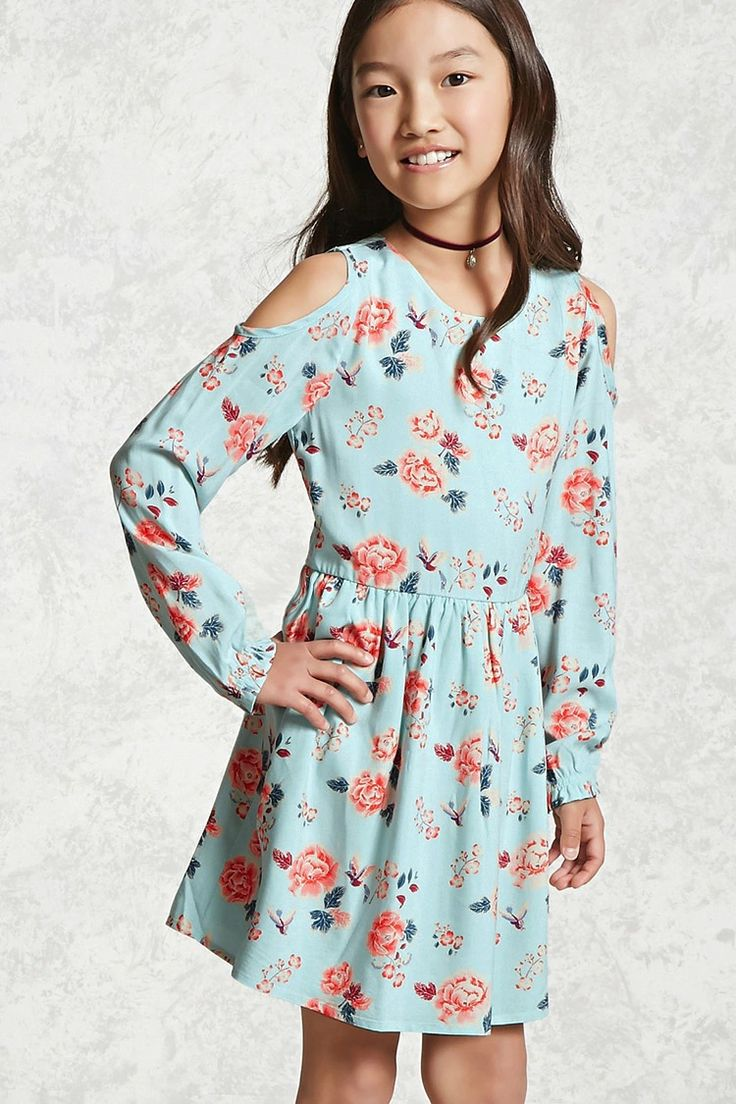 Forever 21 Girls - A woven dress featuring an allover floral print, open-shoulder design, pleated skirt, a swing silhouette, and a button keyhole back.
