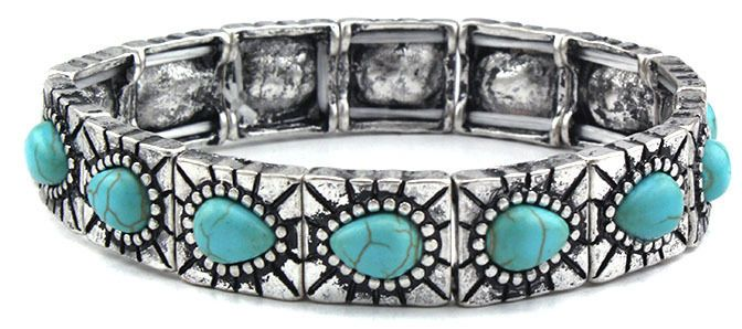 Bracelet Stretch Turquoise Blue and Silver stretches to fit a variety of wrist