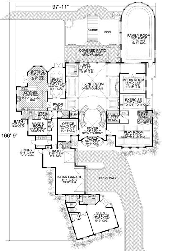Coastal Style House Plans - 10591 Square Foot Home , 2 Story, 7 Bedroom and 7 Bath, 3 Garage Stalls by Monster House Plans - Plan 37-233