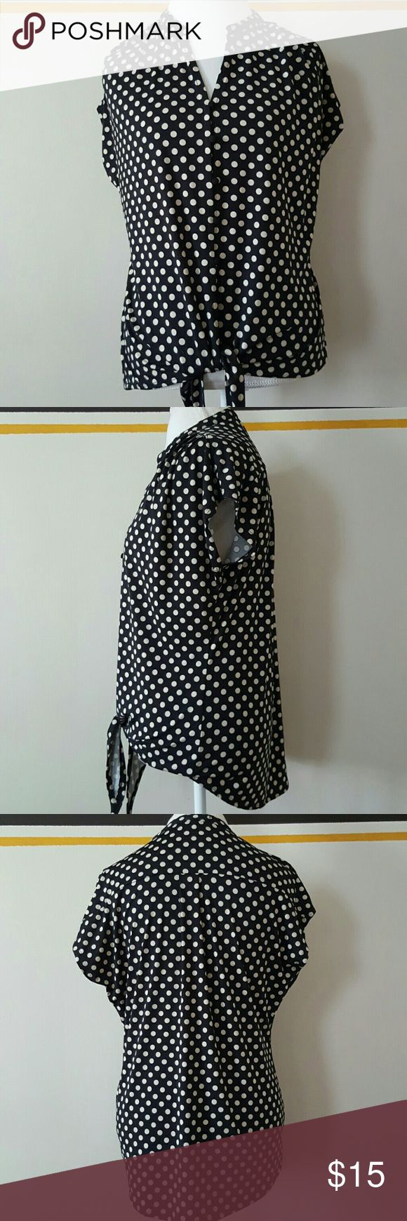 89th and MADISON POLKA DOT TIE TOP 89th and MADISON POLKA DOT TIE TOP  PRE-OWNED  SIZE LARGE  BLACK WITH TAN POLKA DOTS ROOCHING ON SHOULDERS  EUC!!! HIGHLOW  25' FRONT LENGTH LAYING FLAT  26- 1/2 ' BACK LENGTH LAYING FLAT  21' ARMPIT TO ARMPIT 89th & Madison Tops