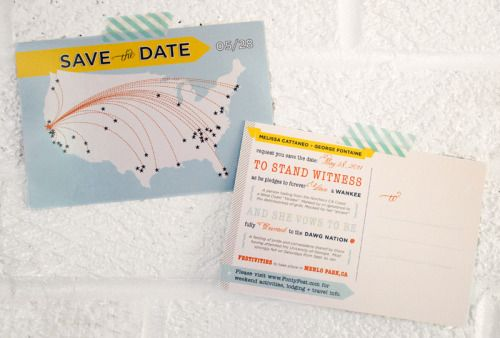 Oh So Beautiful Paper: Melissa + George's Save the Date Postcards
