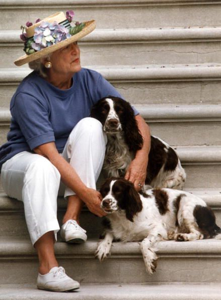 US First Lady Barbara Bush e Millie dog La first Lady Barbara Bush accarezza ed abbraccia i suoi cani 39239