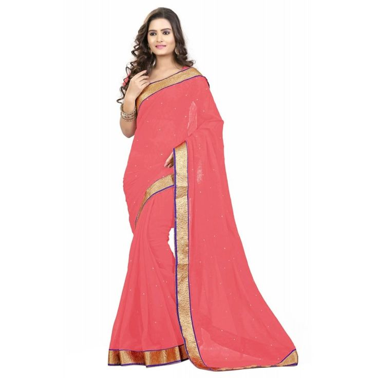 Triveni Noticeable Peach Colored Stone Worked #Chiffon #Saree