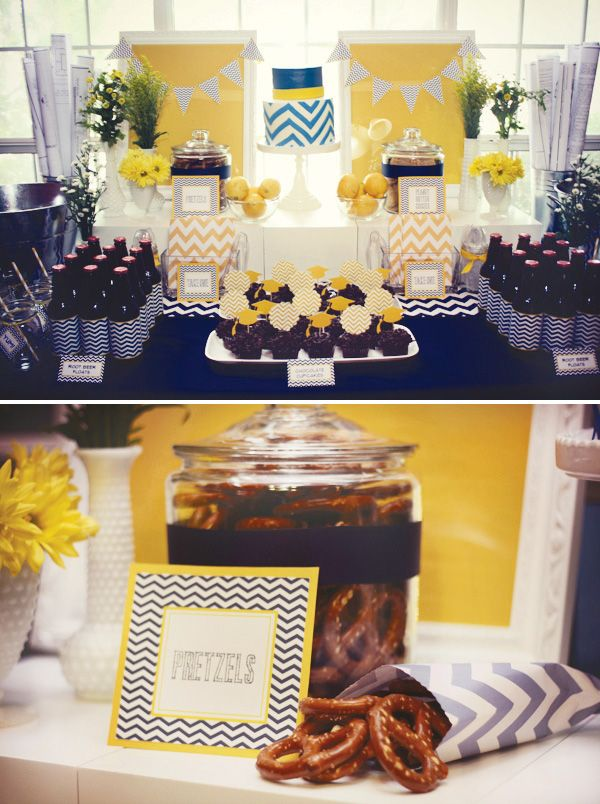 Yellow and Navy Chevron Graduation/Birthday Party || Styling, Decor and Paper Goods: Event Styling by Shawna Marie. Planning: Events & Experiences. Photography: Ashley Taylor. Cake: Jenny Layne Bakery. via Hostess with the Mostess.