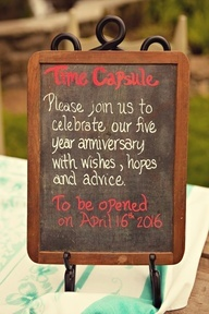 Time Capsule with a wine bottle? This is a really cute idea to help celebrate the big 5 year anniversary!