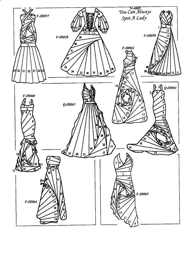 Rubber Stamps for Iris Folding - Beautiful gowns and many more designs