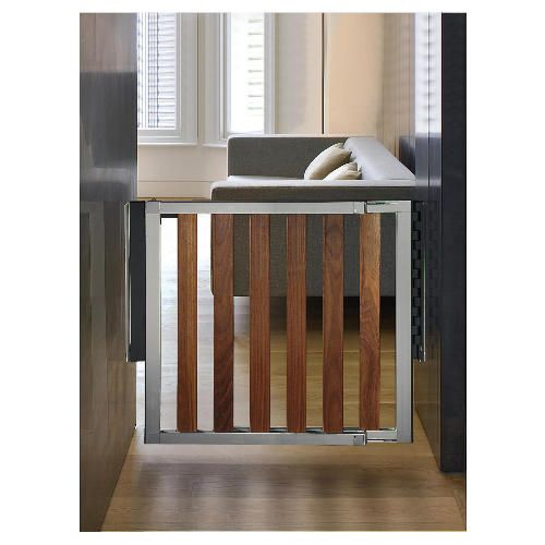 Modern baby gate - aluminum and wood @Dee Meyers Keys