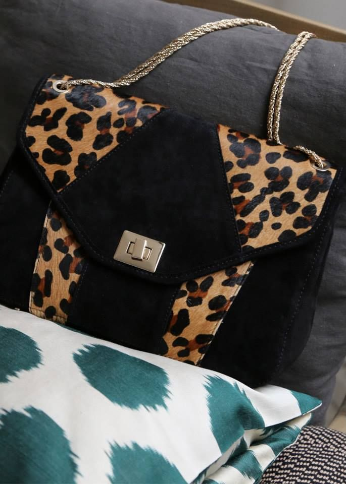 black leather with leopard