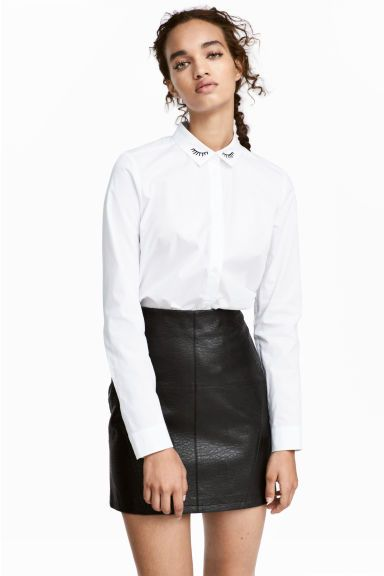 Short skirt - Black/Imitation leather - | H&M GB 1
