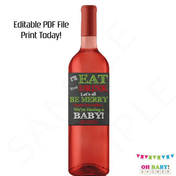 Christmas Pregnancy Announcement Wine Label by OhBabyShower