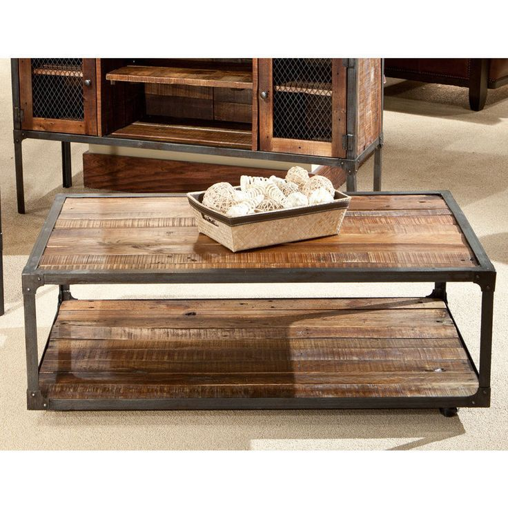 Coffee Table Living Room Modern Rustic Furniture Metal Reclaimed Wood & Casters #Modern