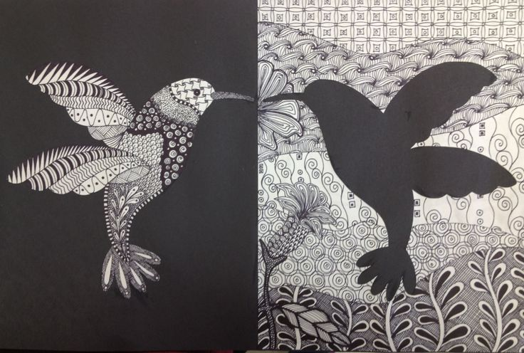 My Zentangle hummingbird. This is an example for my students' project. This can be use for several concepts: positive / negative space, reflection, line and shape, etc. I did this project with my 6th grade students.