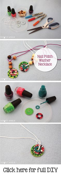 Painted Washer Necklace | Sophie's World http://sophie-world.com/crafts/nail-polish-washer-necklace #washer #necklace #nail #polish