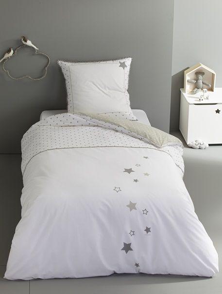 Parure housse de couette + taie d'oreiller Pluie d'étoiles Blanc imprimé - vertbaudet enfant