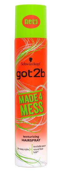 Schwarzkopf got2b Made4Mess Texturizing Schwarzkopf got2b Made4Mess Texturizing Hairspray 275ml: Express Chemist offer fast delivery and friendly, reliable service. Buy Schwarzkopf got2b Made4Mess Texturizing Hairspray 275ml online from Exp http://www.MightGet.com/january-2017-11/schwarzkopf-got2b-made4mess-texturizing.asp