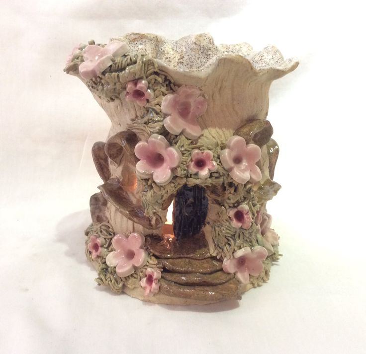 Fairy house oil burner, aromatherapy burner, for tea lights, wax cakes, scented oils, scented crystals. - pinned by pin4etsy.com