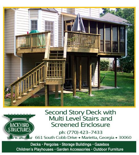 I like the idea of multi level stairs and middle stairs for Second story decks with stairs