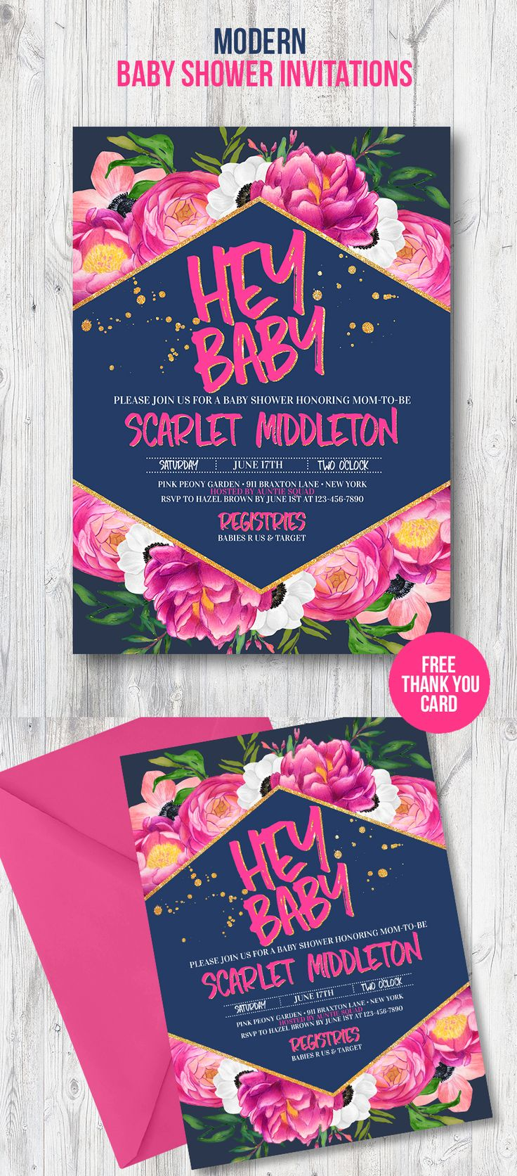 jungle theme baby shower invitation sayings%0A Modern baby shower invitation for your trendy party theme with pink peonies  and anemones with gold