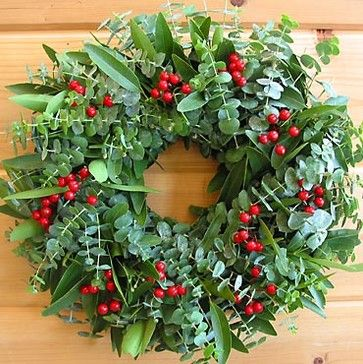 Holiday Eucalyptus Berry Wreath - contemporary - holiday outdoor decorations - ARE NATURALS
