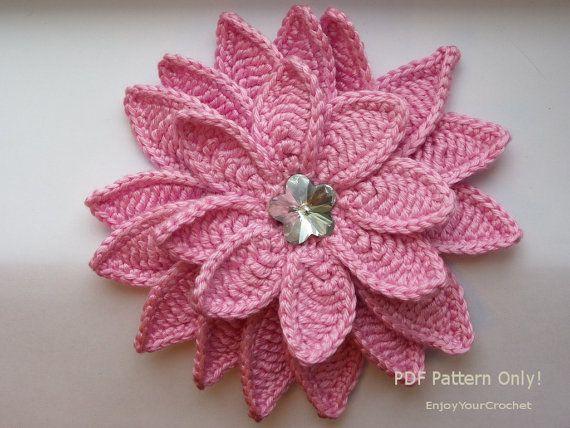 Flower Pattern, Crochet Floral Pattern,Crochet pattern, Flower Aster 3d, Hat Accessories, Baby, Headband, Fall flower, Tutorial Pattern