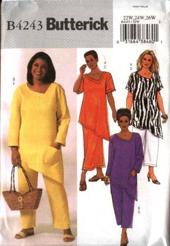Butterick Sewing Pattern 4243 Womens Plus Size 22W-26W Easy Pullover Top Skirt Cropped Pants  $12.99