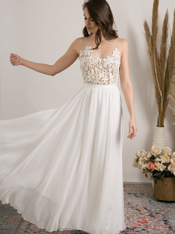 Delicate boho wedding dress for a women who wants to feel