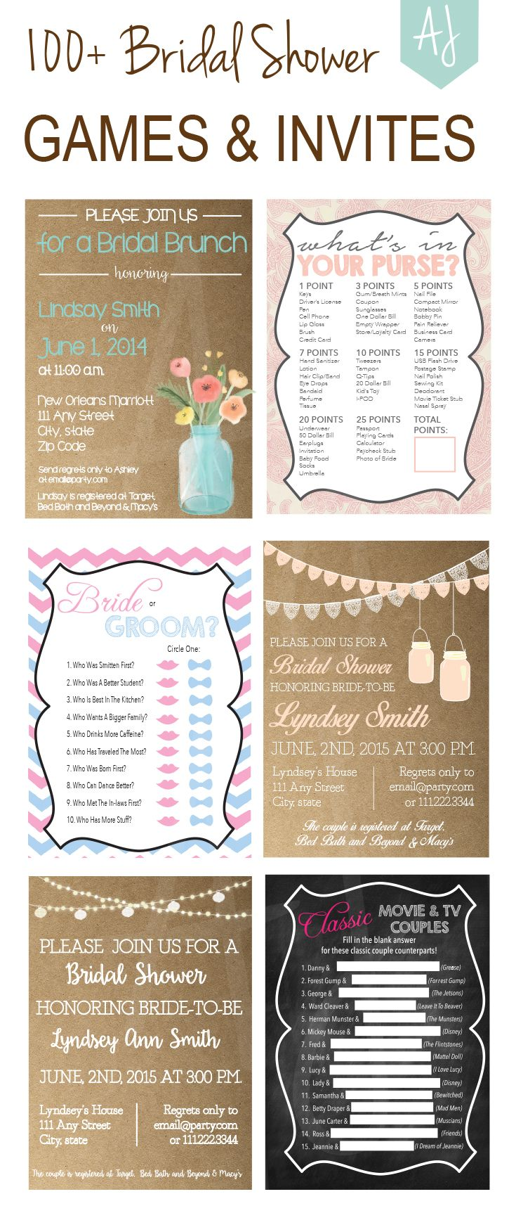 Printable bridal shower games and invites! click through for over 100 ideas to plan the perfect bridal shower.  You can add on matching thank you cards, decorations, or favors as well. Unique games ranging from the classic, whats in your purse to famous movie couples.  Invites rang from rustic to elegant, from vintage to modern. Only at Aesthetic Journeys!
