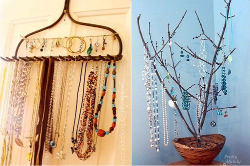 Amazing Jewelry Organizers – DIY  Love the old rake for necklaces