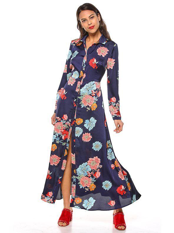 4572af43a2 Vestido largo camisero tejido satinado con vistosas flores estampadas