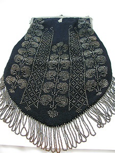 Antique Large Beaded Purse w Sterling Silver Frame | eBay