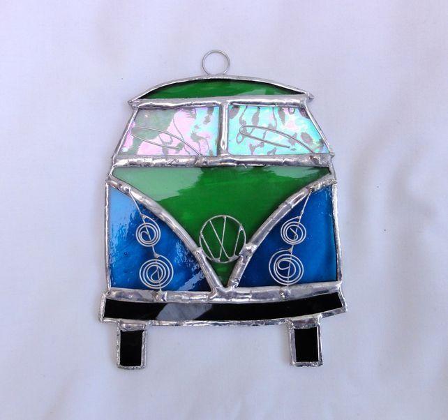 Stained Glass Camper Van Suncatcher - Turquoise and Green £14.00 VW Volkswagon van