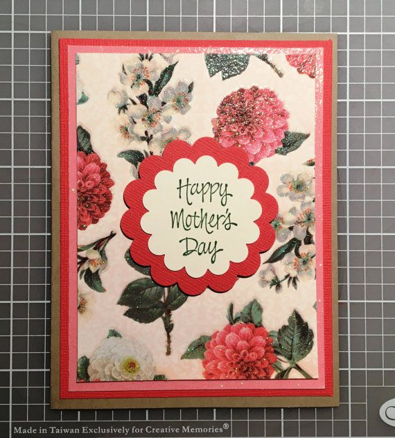 OOAK Happy Mother's Day Floral Glitter Card by DesignedToAT